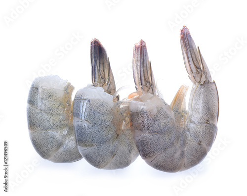 Raw prawns ion white background
