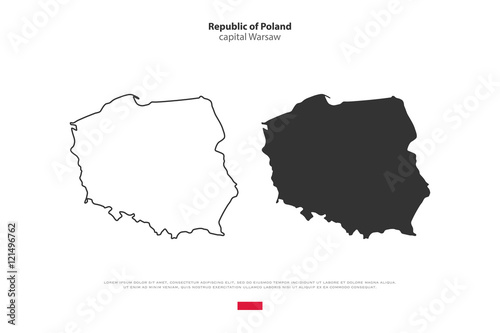 Republic of Poland isolated map and official flag icons. vector Polish political maps icons. Central Europe country geographic banner template