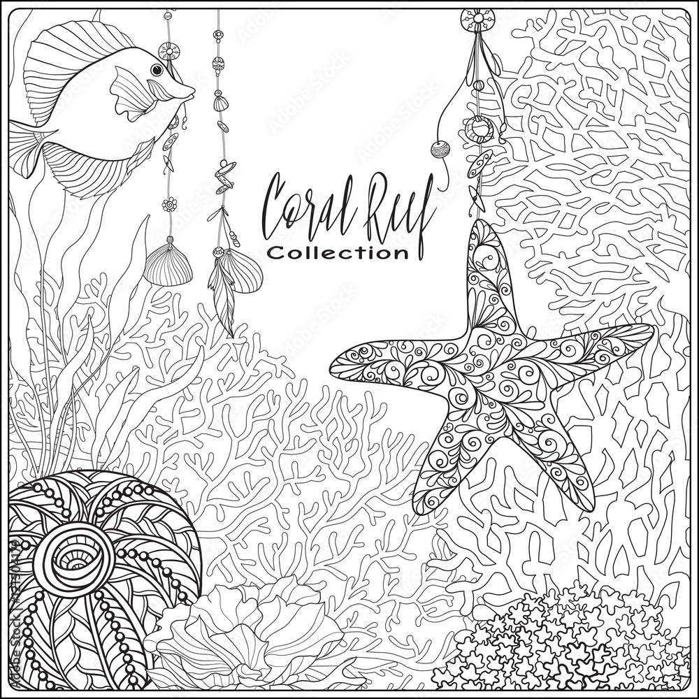 Coral Reef Coloring Pages - Coral Reef , Transparent Cartoon, Free ...   1000x1000