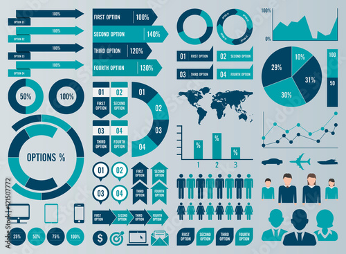 Fotografía  Mega Set Infographic Elements Vector Design