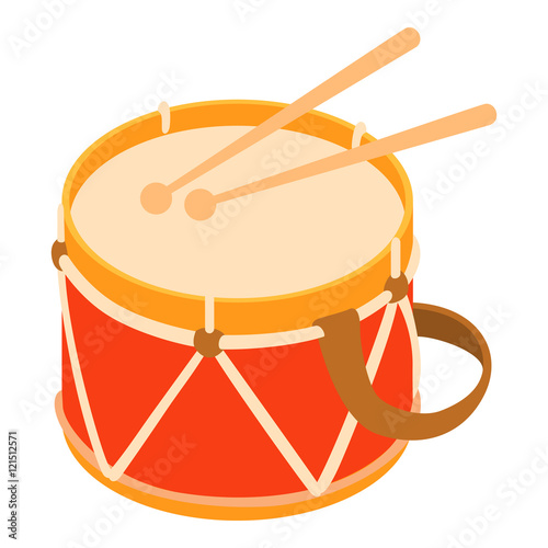 Fotografia Toy drum icon in cartoon style isolated on white background vector illustration