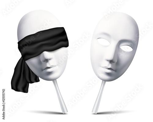Fotografie, Obraz  Couple of white blindfolded masks for mafia game