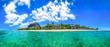 canvas print picture - Mauritius Panorama aus dem Meer heraus samt Strand und dem Le Morne Brabant, dem berühmten Berg Mauritius' #AllesSuper