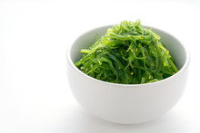 Hiyashi Wakame Chuka Salad Or Seaweed Salad, Japanese Food , On White Background
