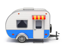 RV Camper Trailer On White Bac...