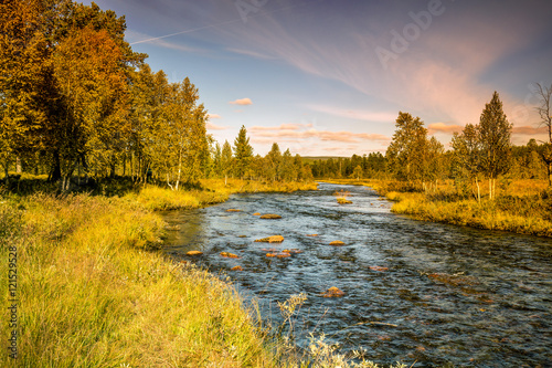 Tuinposter Rivier Mountain river in autumn. Norway