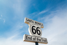 Sign Of Route 66 At Santa Monica