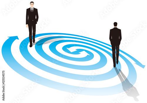 Photo 渦の上を歩くビジネスマン ビジネスイメージ