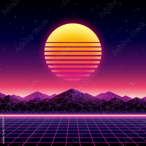 Obraz Retro futuristic background 1980s style. Digital landscape - fototapety do salonu