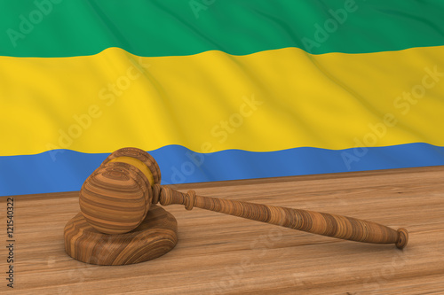 Fotografie, Obraz  Gabonese Law Concept - Flag of Gabon Behind Judge's Gavel 3D Illustration