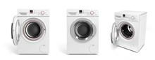 Collection Of Washing Machine On White Background 3D Illustratio