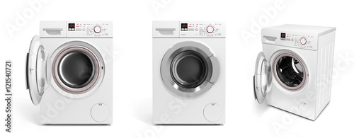 Fotografie, Obraz  collection of Washing machine on white background 3D illustratio
