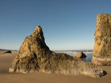 Bandon Beach, Rocks, Morning Light, Oregon Coast