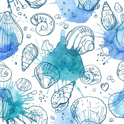 wzor-seashells-na-plazy-kolor-linia-na-bialym-tle-recznie-rysowane-wzor-abstrakcjonistyczni-blekitni-punkty-na-bialym-tle