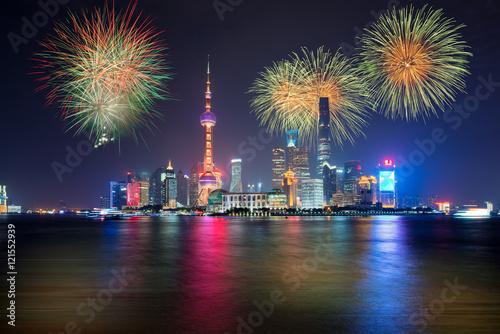 Plakat Fajerwerki w Szanghaj, Chiny obchody święta narodowego