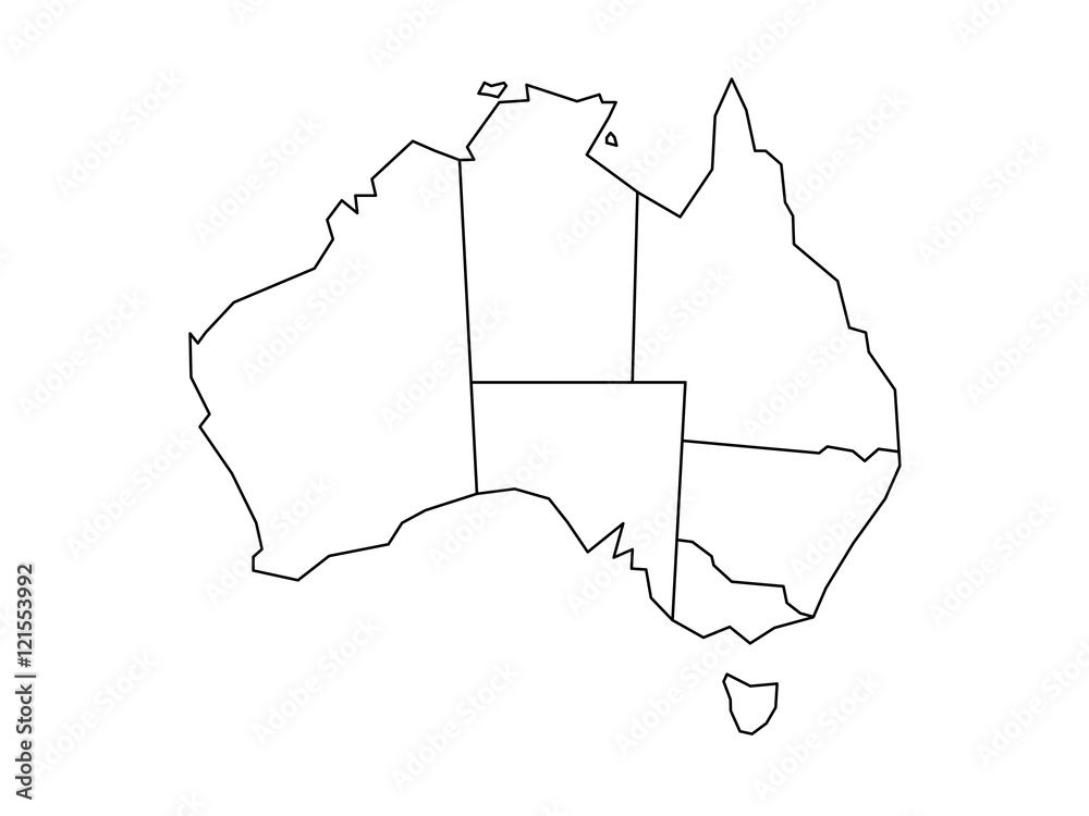 Map Of Australia With States And Territories.Fotografie Obraz Blind Map Of Australia Divided Into States And