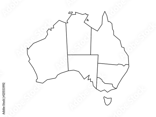 Fototapeta Blind map of Australia divided into states and territories