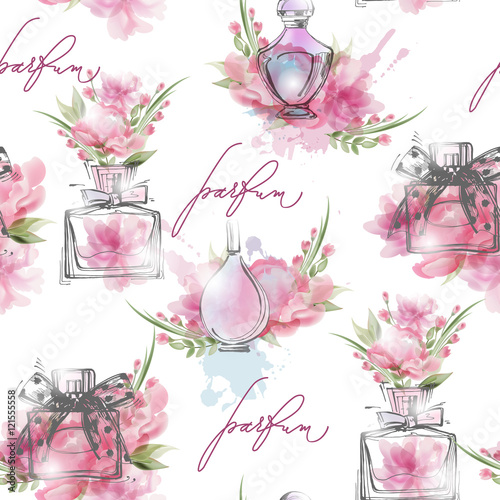 Cotton fabric Seamless pattern with beautiful bottles of perfume. Womens perfume. Vector watercolor.