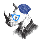 Hand drawn rhino in hipster style - 121556927