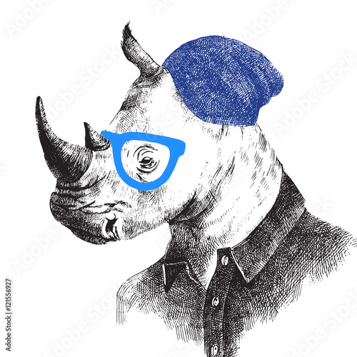 Hand drawn rhino in hipster style