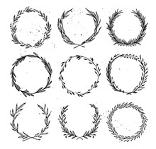 Hand Drawn Vector Illustration - Laurels And Wreaths. Design Elements