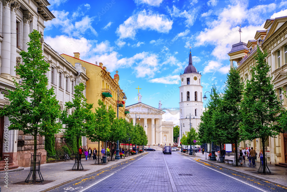Fototapety, obrazy: Gediminas Avenue and Cathedral square, Vilnius, Lithuania,