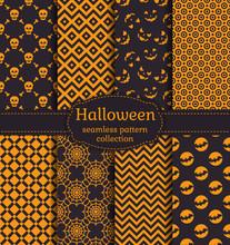 Halloween Seamless Patterns. V...