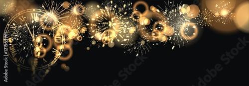 Photo  Hintergrund mit Feuerwerk und Sektgläser