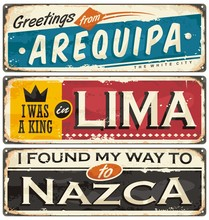 Travel To Peru Retro Tin Signs Collection