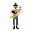 Vector Paintball Player. Flat style colorful Cartoon illustration.