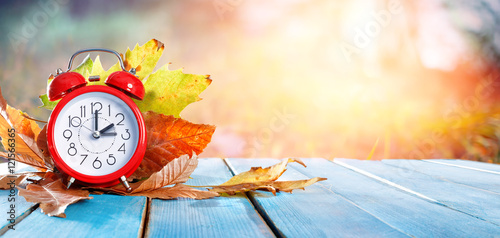 Fall Back Time - Daylight Savings End - Return To Winter Time Wallpaper Mural