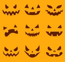 Set Of Different Halloween Pumpkin Faces