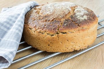 Świeży, domowy chleb stygnący na kratce