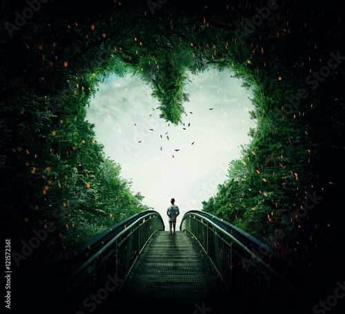 Boy walking on a bridge through the heart shape woods, following the light. Follow your heart concept