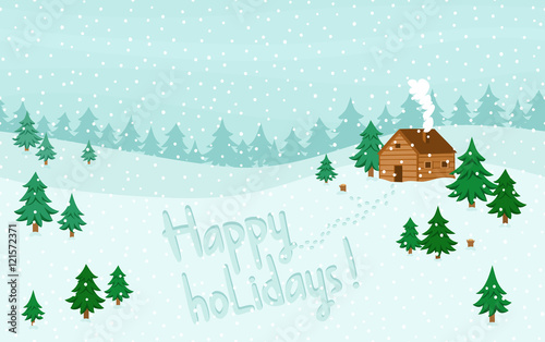 Tuinposter Lichtblauw Happy holidays greeting on winter seamless landscape