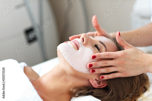 Fotografie, Obraz  Woman with facial mask in beauty salon