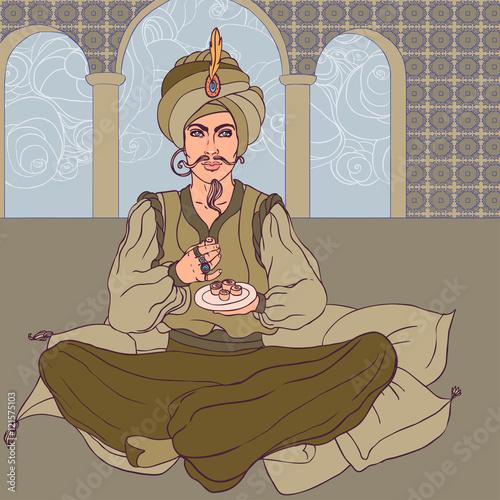 Stampa su Tela Fairy tale sultan: Arab men enjoying east sweets