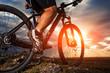 Closeup of cyclist man legs riding mountain bike