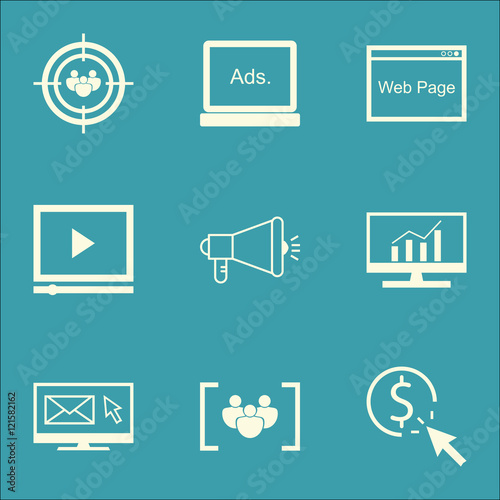 Photo  Set Of SEO, Marketing And Advertising Icons On Web Page, Audience Targeting, Video Advertising And More