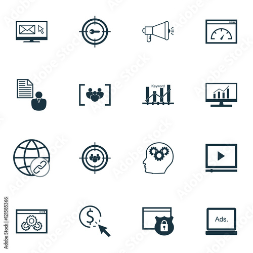 Fototapeta Set Of SEO, Marketing And Advertising Icons On Audience Targeting, Viral Marketing, Link Building And More. Premium Quality EPS10 Vector Illustration For Mobile, App, UI Design. obraz na płótnie