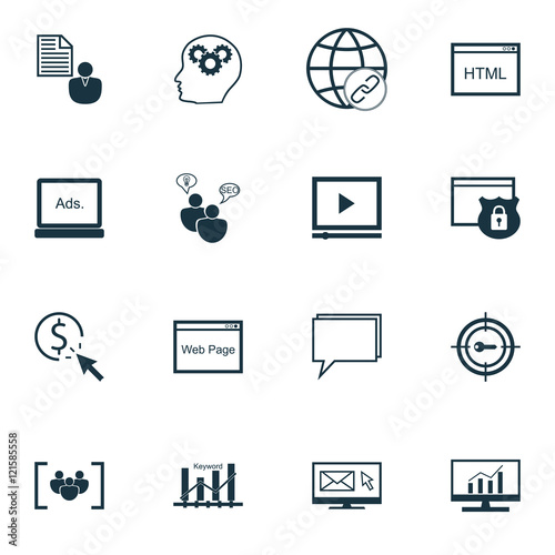 Fototapeta Set Of SEO, Marketing And Advertising Icons On Comprehensive Analytics, Online Consulting, Creativity And More. Premium Quality EPS10 Vector Illustration For Mobile, App, UI Design. obraz na płótnie