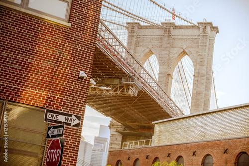 Fototapeta under view of brooklyn bridge, ney york