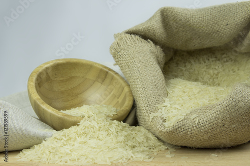 Garden Poster Spa Burlap Rice grains with Wooden Bowl