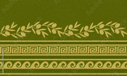 Photo  Seamless pattern with olives, wheat, and greek symbols.