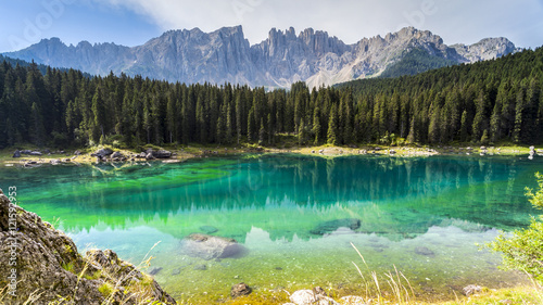 Fototapeta Dolomites: the beautiful colors of the lake Carezza obraz