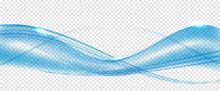 Abstract Blue Wave Set On Transparent Background. Vector Illustr