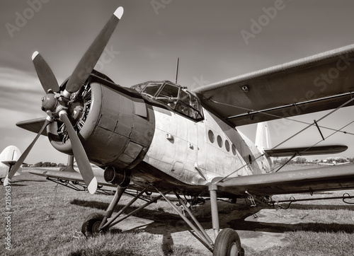 Fotografie, Tablou vintage biplane