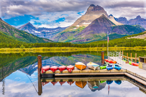 Wall Murals Pale violet Swiftcurrent Lake, Glacier National Park, Montana, USA