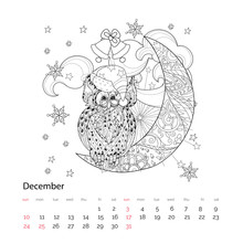Cute Owl On Christmas Half Moon With Stars And Flowers. Hand Drawn Doodle Zen Art.Adult Anti Stress Coloring Book Or Tattoo Boho Style.December Calendar Page 2017.