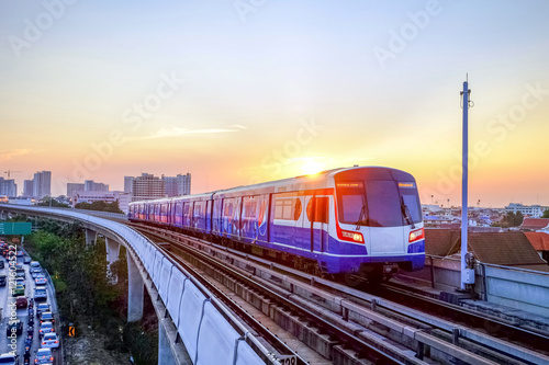 Fotografie, Obraz  BTS Sky train mass transit system in Bangkok to help facilitate and speed the journey
